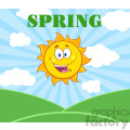 royalty free rf clipart illustration sunshine happy sun mascot cartoon character over landscape vector illustration with suburst background and text spring gif, png, jpg, eps, svg, pdf