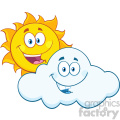 royalty free rf clipart illustration happy summer sun and smiling cloud mascot cartoon characters vector illustration isolated on white background