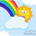 royalty free rf clipart illustration happy summer sun mascot cartoon character hiding behind cloud with rainbow vector illustration with background