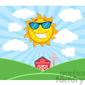royalty free rf clipart illustration smiling sun mascot cartoon character with sunglasses vector illustration with farm barn and silo fields background
