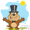royalty free rf clipart illustration smiling marmot cartoon character with open arms in groundhog day vector illustration with background gif, png, jpg, eps, svg, pdf