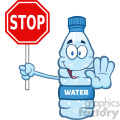 illustration cartoon ilustation of a water plastic bottle mascot character gesturing and holding a stop sign vector illustration isolated on white background