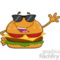 illustration happy burger cartoon mascot character with sunglasses waving for greeting vector illustration isolated on white background