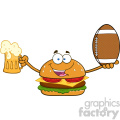 illustration happy burger cartoon mascot character holding a beer and american football ball vector illustration isolated on white background gif, png, jpg, eps, svg, pdf