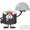 illustration sushi roll cartoon mascot character licking his lips and holding a cloche platter vector illustration flat style isolated on white