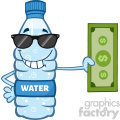 of a water plastic bottle cartoon mascot character with sunglasses holding a dollar bill vector illustration isolated on white background