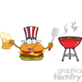 illustration american burger cartoon mascot character holding a beer and bbq slotted spatula by a grill vector illustration isolated on white background