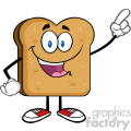 illustration happy toast bread slice cartoon character pointing vector illustration isolated on white background gif, png, jpg, eps, svg, pdf