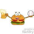 illustration happy burger cartoon mascot character holding a beer and baseball ball vector illustration isolated on white background