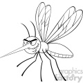 royalty free rf clipart illustration black and white mosquito cartoon character flying vector illustration isolated on white