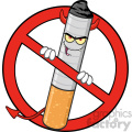 royalty free rf clipart illustration devil cigarette cartoon mascot character in a prohibited symbol vector illustration isolated on white background