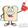 royalty free rf clipart illustration happy bread slice cartoon mascot character wearing a foam finger vector illustration isolated on white