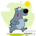 royalty free rf clipart illustration smiling gray bear cartoon character running vector illustration with background isolated on white