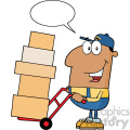 royalty free rf clipart illustration african american delivery man cartoon character using a dolly to move boxes with speech bubble vector illustration with isolated on white gif, png, jpg, eps, svg, pdf