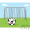 smiling soccer ball cartoon mascot character with football gate vector illustration with background