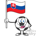 happy soccer ball cartoon mascot character holding a flag of slovakia vector illustration isolated on white background gif, png, jpg, eps, svg, pdf