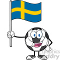 happy soccer ball cartoon mascot character holding a flag of sweden vector illustration isolated on white background