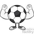 soccer ball faceless cartoon mascot character flexing vector illustration isolated on white background