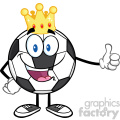 king soccer ball cartoon mascot character with golden crown giving a thumb up vector illustration isolated on white background gif, png, jpg, eps, svg, pdf
