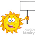 summer sun cartoon mascot character holding a blank sign vector illustration isolated on white background