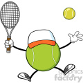 tennis ball faceless player cartoon mascot character with hat holding a tennis ball and racket vector illustration isolated on white background gif, png, jpg, eps, svg, pdf