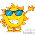 10109 smiling sun cartoon mascot character with sunglasses waving for greeting vector illustration isolated on white background