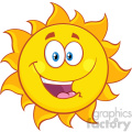 happy sun cartoon mascot character vector illustration isolated on white background