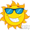 smiling summer sun cartoon mascot character with sunglasses vector illustration isolated on white background