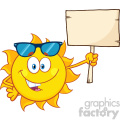 summer sun cartoon mascot character with sunglasses holding a wooden blank sign vector illustration isolated on white background