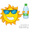 cute sun cartoon mascot character with sunglasses holding a water bottle with recyle sign vector illustration isolated on white background