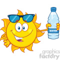 cute sun cartoon mascot character with sunglasses holding a water bottle with text vector illustration isolated on white background gif, png, jpg, eps, svg, pdf