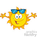 smiling loving sun cartoon mascot character with sunglasses and open arms for hugging vector illustration isolated on white background gif, png, jpg, eps, svg, pdf