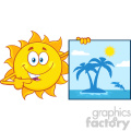 talking sun cartoon mascot character pointing to a poster sign with tropical island vector illustration isolated on white background gif, png, jpg, eps, svg, pdf