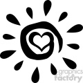 black abstract sun silhouette with heart simple design vector illustration isolated on white background gif, png, jpg, eps, svg, pdf
