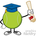 tennis ball faceless cartoon mascot character with graduate cap holding a diploma vector illustration isolated on white background