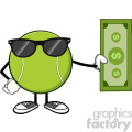 tennis ball faceless cartoon mascot character with sunglasses holding a dollar bill vector illustration isolated on white background