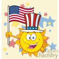 cute sun cartoon mascot character with patriotic hat holding an american flag vector illustration background with stars