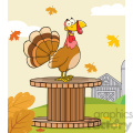 happy turkey bird cartoon character on a giant spool in a barnyard vector illustration with background