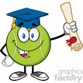 happy tennis ball cartoon mascot character with graduate cap holding a diploma vector illustration isolated on white