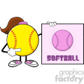 softball girl faceless cartoon mascot character pointing to a sign with text softball vector illustration isolated on white background gif, png, jpg, eps, svg, pdf