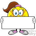 cute softall girl cartoon mascot character holding a blank sign vector illustration isolated on white background gif, png, jpg, eps, svg, pdf