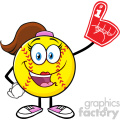 cute softball girl cartoon mascot character wearing a foam finger vector illustration isolated on white background gif, png, jpg, eps, svg, pdf