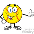 smiling softball cartoon mascot character giving a thumb up vector illustration isolated on white background