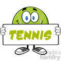 tennis ball cartoon mascot character holding a blank sign vector illustration with text tennis isolated on white