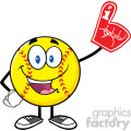 happy softball cartoon mascot character wearing a foam finger vector illustration isolated on white background gif, png, jpg, eps, svg, pdf