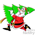 cartoon santa running with christmas tree vector art