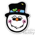 christmas snowman head with shadow sticker
