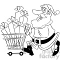 black and white santa with shopping cart full of presents