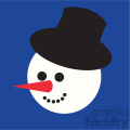snowman head with top hat on blue square icon