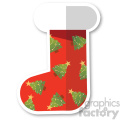 red christmas stocking with christmas trees vector flat design  gif, png, jpg, eps, svg, pdf